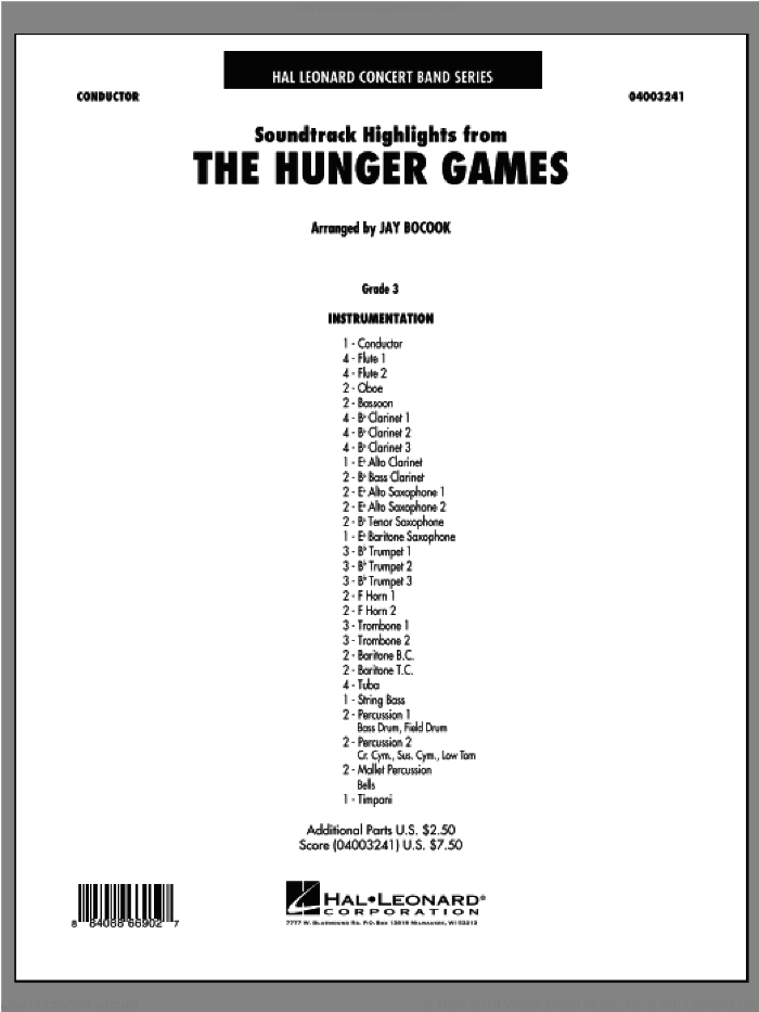The Hunger Games (Soundtrack Highlights) (COMPLETE) sheet music for concert band by James Newton Howard and Jay Bocook, intermediate. Score Image Preview.