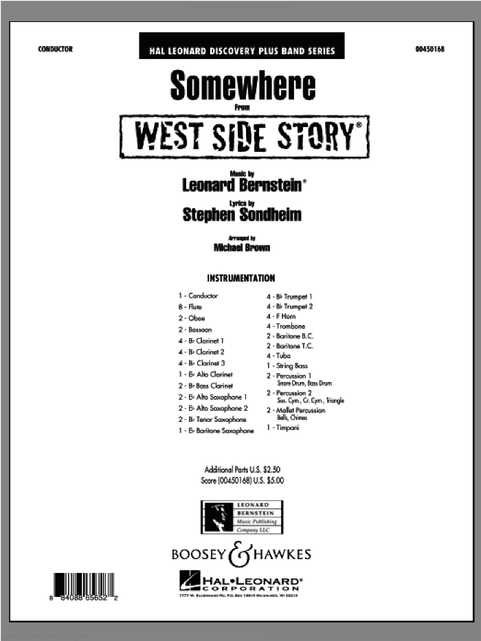 Somewhere (from West Side Story) (COMPLETE) sheet music for concert band by Stephen Sondheim, Leonard Bernstein and Michael Brown, intermediate skill level