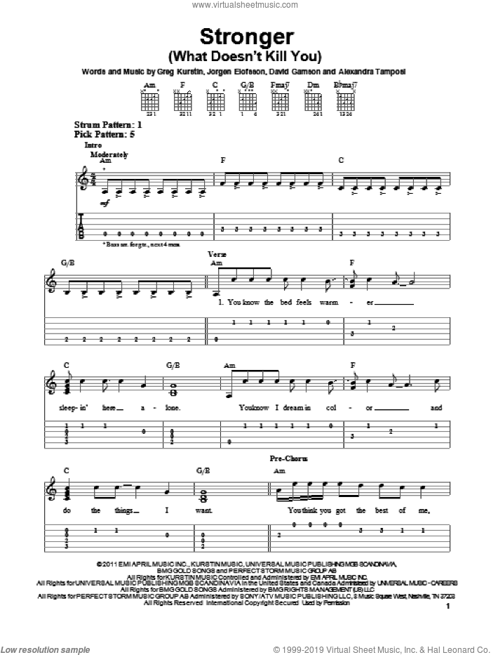 Stronger (What Doesn't Kill You) sheet music for guitar solo (easy tablature) by Jorgen Elofsson, Greg Kurstin, JA�Aorgen Elofsson and Kelly Clarkson. Score Image Preview.
