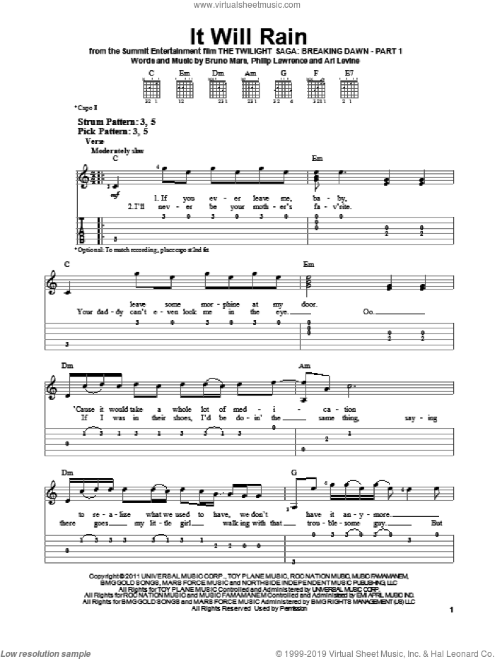 It Will Rain sheet music for guitar solo (easy tablature) by Bruno Mars, Ari Levine and Philip Lawrence, easy guitar (easy tablature)