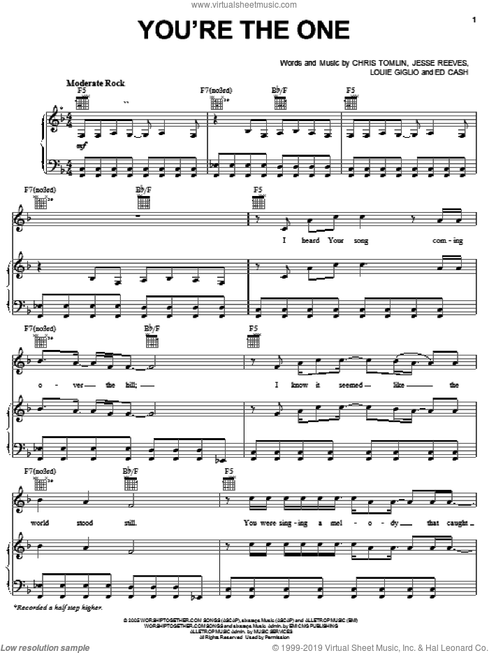 You're The One sheet music for voice, piano or guitar by Chris Tomlin, The Chronicles of Narnia: The Lion, The Witch And The Wardrobe , Ed Cash, Jesse Reeves and Louie Giglio, intermediate skill level