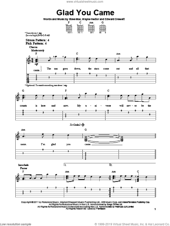 Glad You Came sheet music for guitar solo (easy tablature) by The Wanted, Edward Drewett, Steve Mac and Wayne Hector, easy guitar (easy tablature)