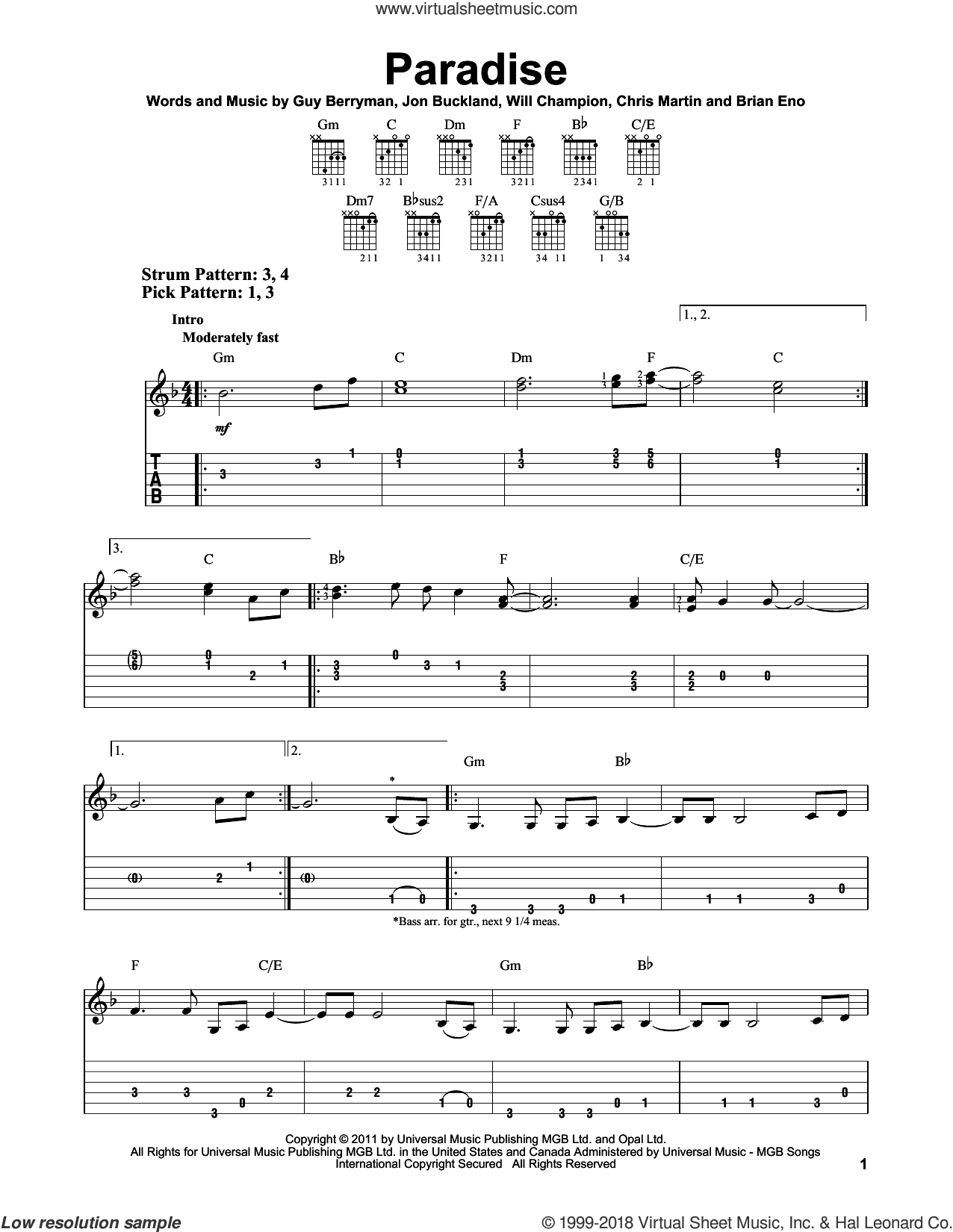 Paradise sheet music for guitar solo (easy tablature) by Will Champion, Brian Eno, Chris Martin, Coldplay, Guy Berryman and Jon Buckland. Score Image Preview.