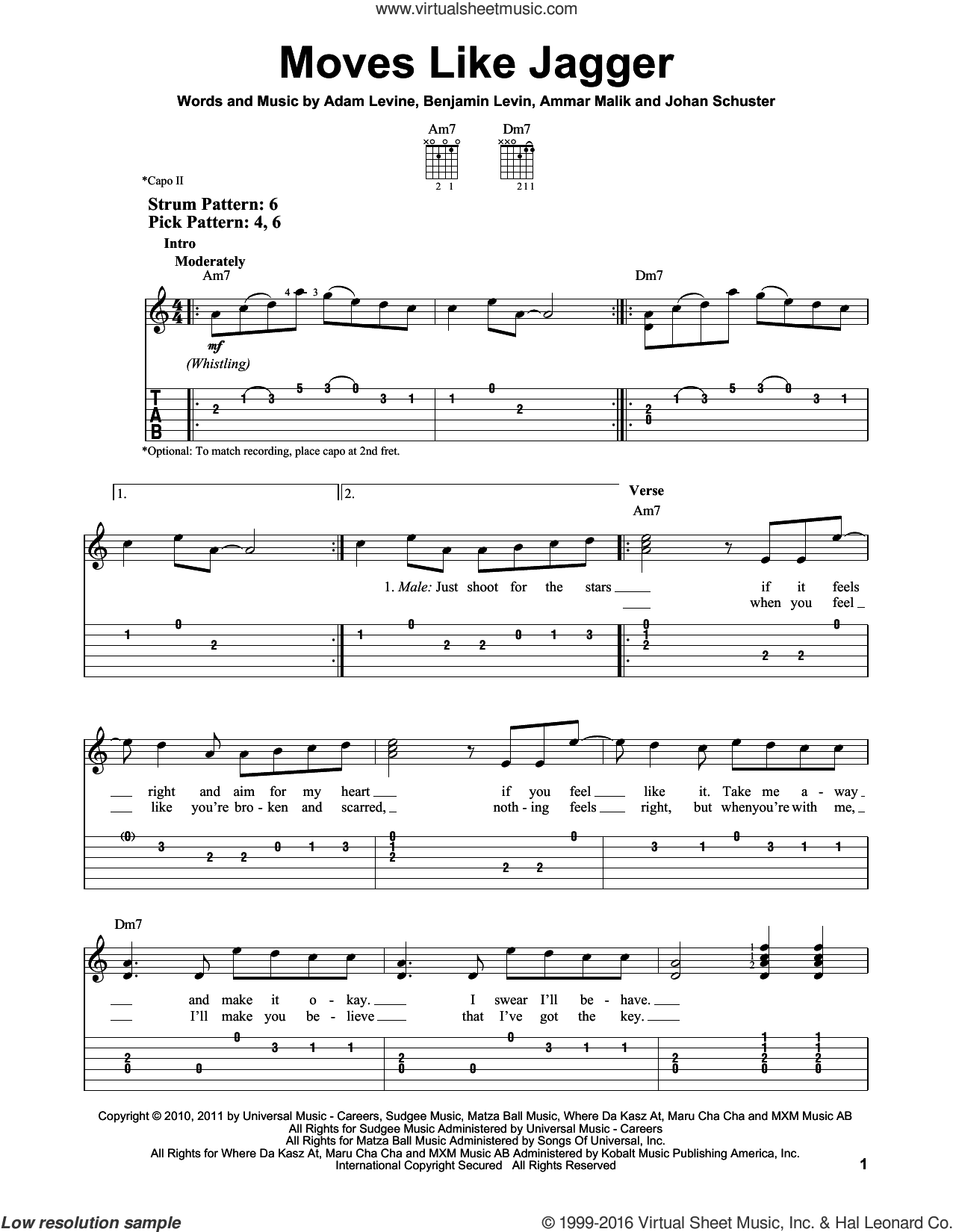 Moves Like Jagger sheet music for guitar solo (easy tablature) by Maroon 5, Adam Levine, Ammar Malk, Benjamin Levin and Johan Schuster, easy guitar (easy tablature)