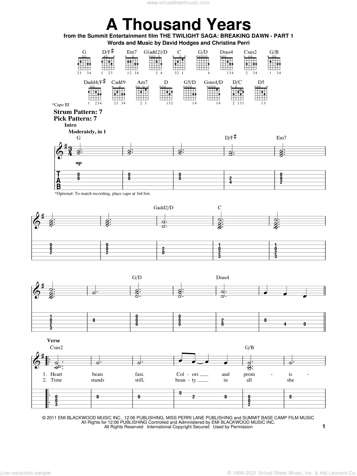 A Thousand Years sheet music for guitar solo (easy tablature) by Christina Perri and David Hodges, wedding score, easy guitar (easy tablature)