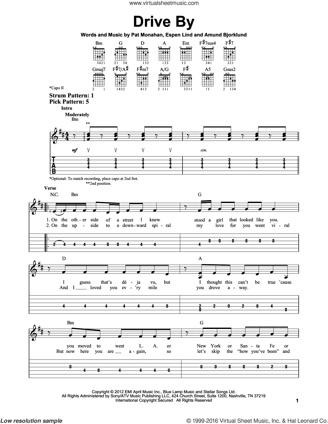 Drive By sheet music for guitar solo (easy tablature) by Pat Monahan, Amund Bjorklund and Train. Score Image Preview.