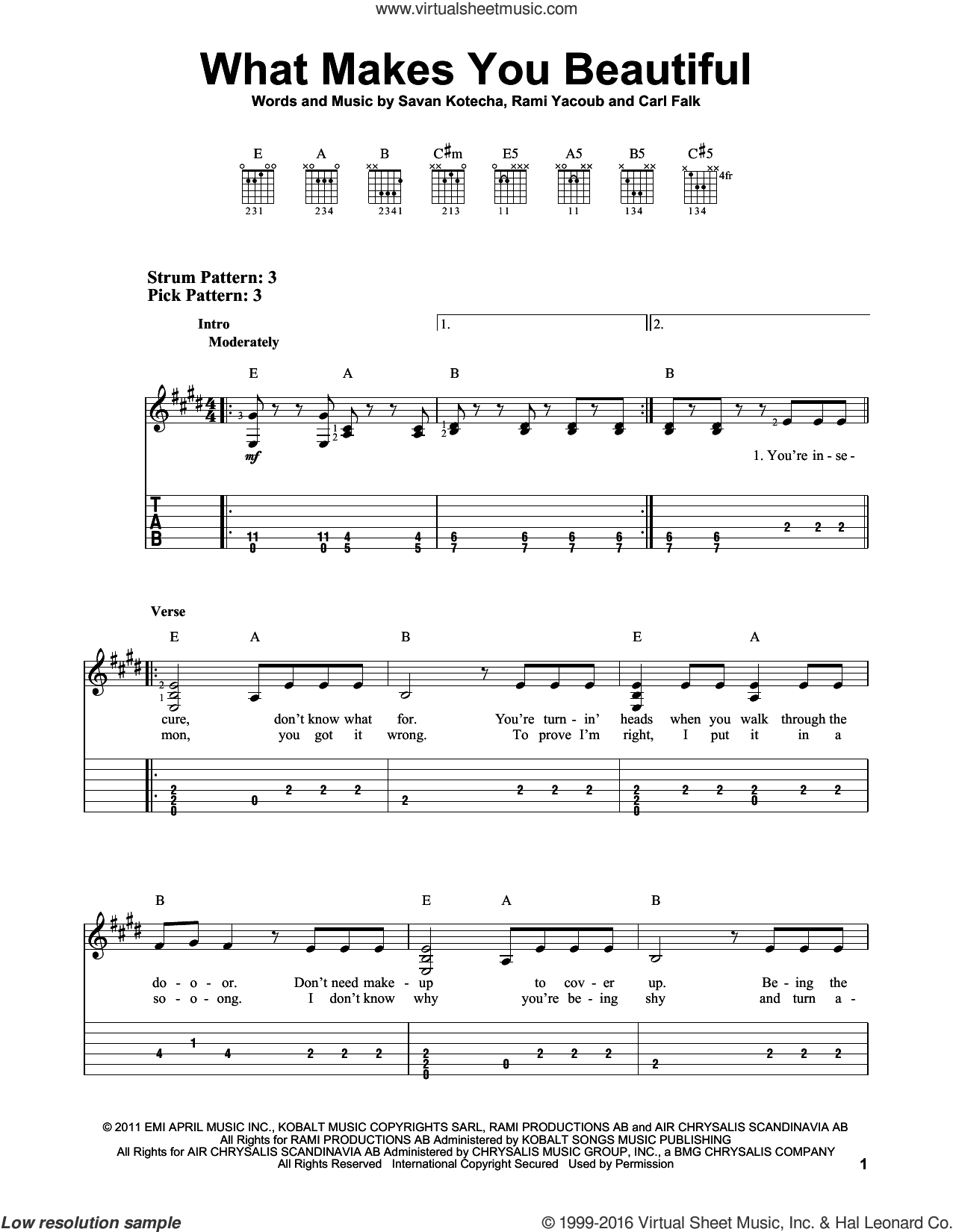 What Makes You Beautiful sheet music for guitar solo (easy tablature) by One Direction, Carl Falk, Rami and Savan Kotecha, easy guitar (easy tablature)