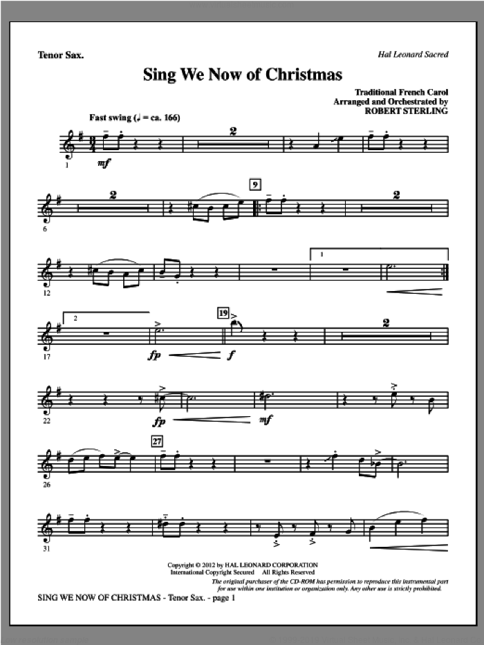 Sing We Now Of Christmas sheet music for orchestra/band (tenor sax) by Robert Sterling