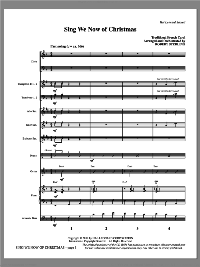 Sing We Now of Christmas (complete set of parts) sheet music for orchestra/band (Rhythm/Horns) by Robert Sterling and Miscellaneous, intermediate skill level