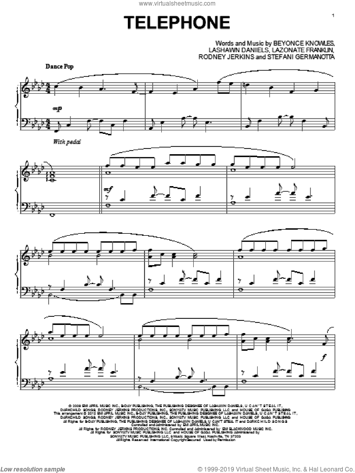 Telephone sheet music for piano solo by Lady Gaga. Score Image Preview.