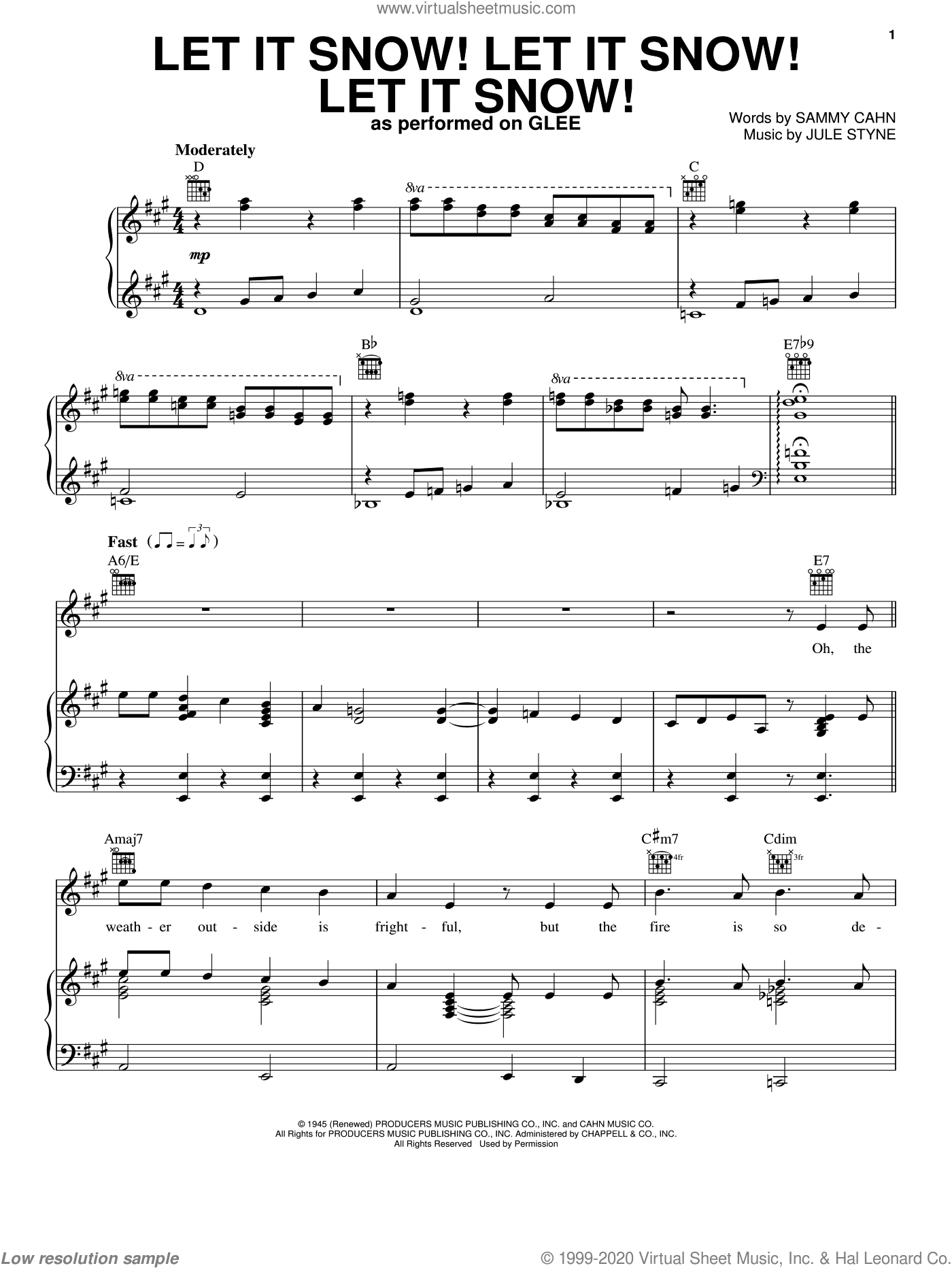 Let It Snow! Let It Snow! Let It Snow! sheet music for voice, piano or guitar by Glee Cast, intermediate skill level