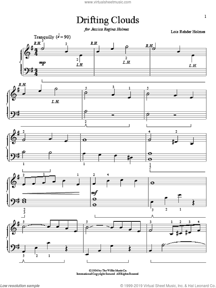 Drifting Clouds sheet music for piano solo (elementary) by Lois Rehder Holmes, classical score, beginner piano (elementary)