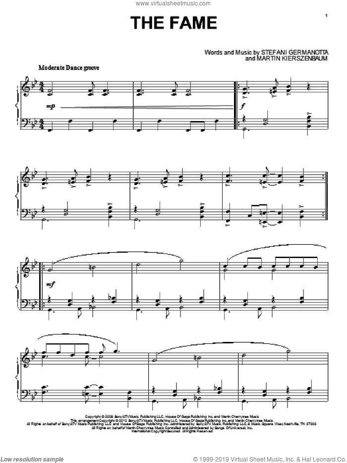 The Fame sheet music for piano solo by Lady Gaga and Martin Kierszenbaum, intermediate skill level
