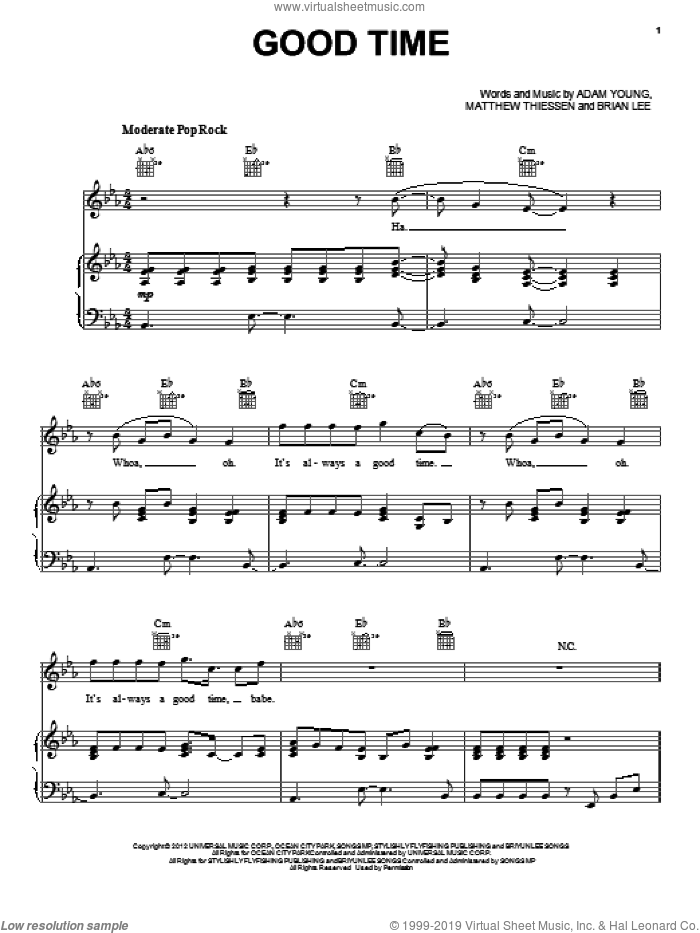 Good Time sheet music for voice, piano or guitar by Owl City and Carly Rae Jepsen, intermediate. Score Image Preview.
