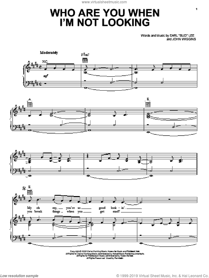 Who Are You When I'm Not Looking sheet music for voice, piano or guitar by John Wiggins