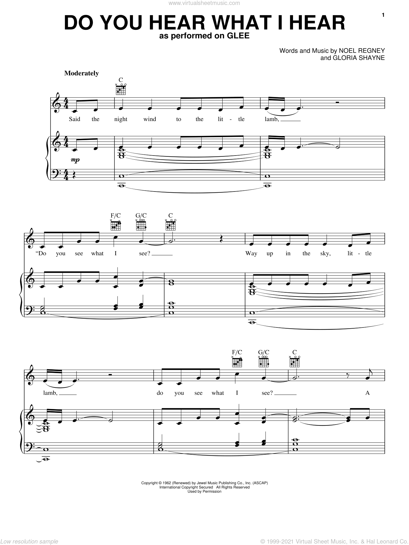 Do You Hear What I Hear sheet music for voice, piano or guitar by Glee Cast, intermediate skill level