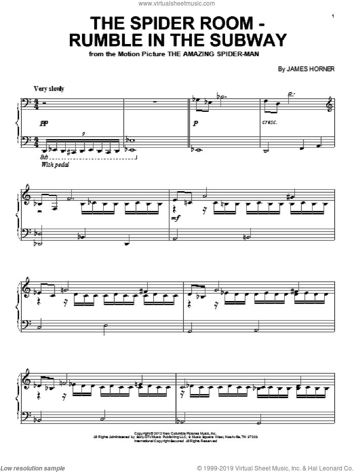 The Spider Room - Rumble In The Subway sheet music for piano solo by James Horner and The Amazing Spider Man (Movie), intermediate skill level