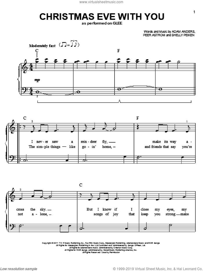 Christmas Eve With You sheet music for voice, piano or guitar by Shelly Peiken, Adam Anders, Glee Cast and Peer Astrom. Score Image Preview.