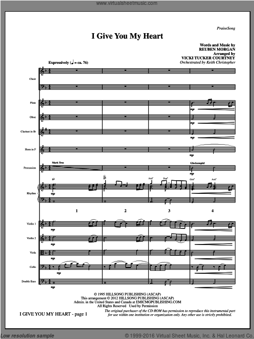 I Give You My Heart (COMPLETE) sheet music for orchestra by Reuben Morgan and Vicki Tucker Courtney. Score Image Preview.