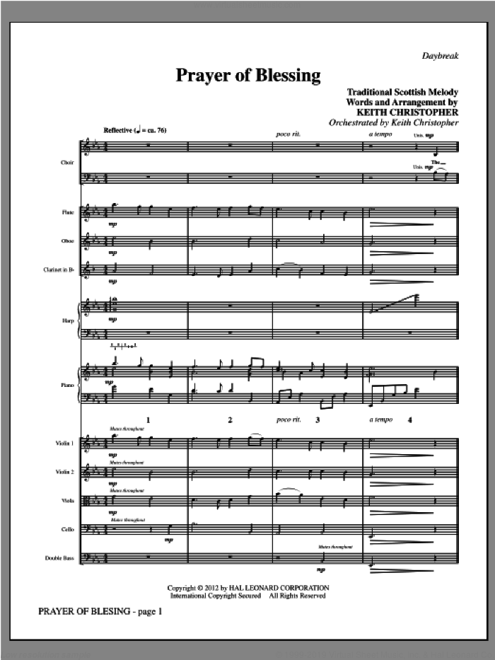 Prayer Of Blessing (complete set of parts) sheet music for orchestra/band (Winds/Strings) by Keith Christopher and Traditional Scottish Melody, intermediate. Score Image Preview.