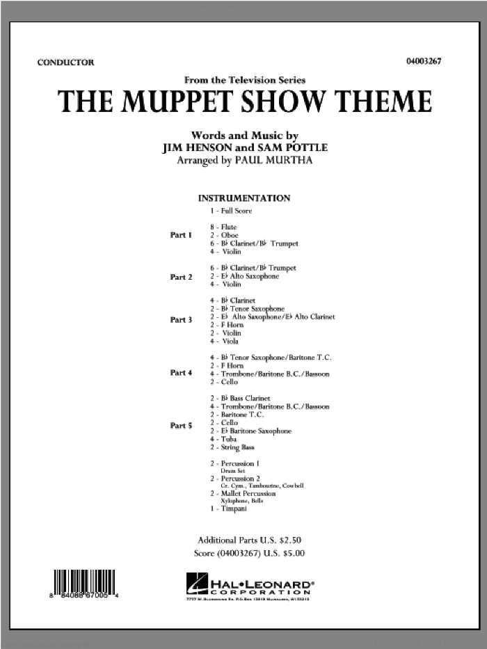 The Muppet Show Theme (COMPLETE) sheet music for concert band by Jim Henson, Sam Pottle and Paul Murtha, intermediate skill level