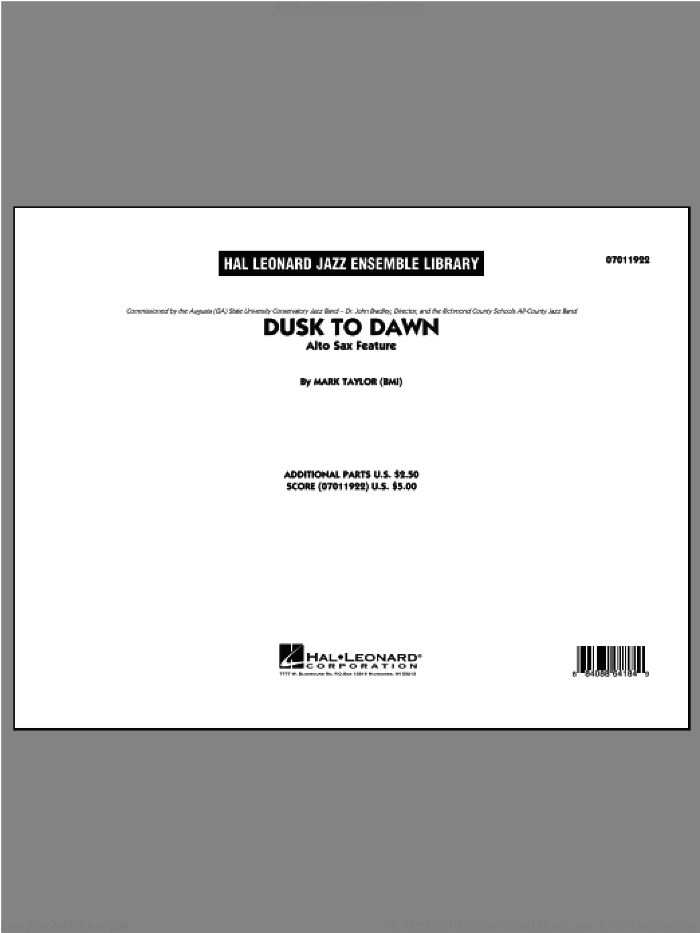Dusk To Dawn (Solo Alto Sax Feature) (COMPLETE) sheet music for jazz band ( Ensemble) by Mark Taylor, intermediate skill level