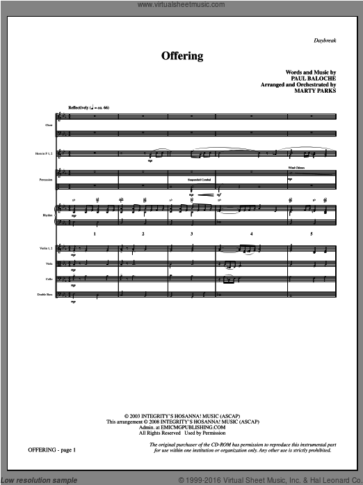 Offering (COMPLETE) sheet music for orchestra by Paul Baloche and Marty Parks. Score Image Preview.