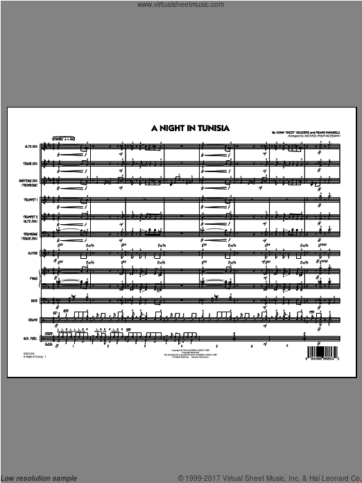 A Night In Tunisia (COMPLETE) sheet music for jazz band by Michael Philip Mossman