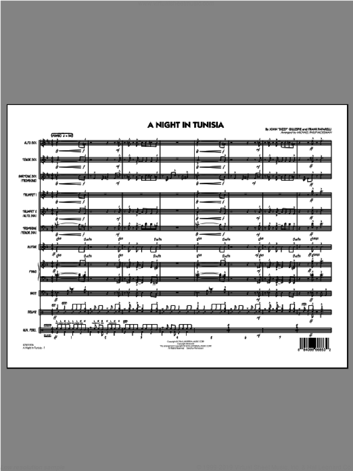 A Night In Tunisia (COMPLETE) sheet music for jazz band ( Ensemble) by Michael Philip Mossman, intermediate jazz band ( Ensemble). Score Image Preview.