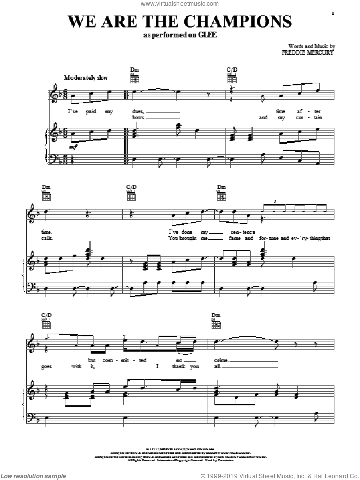 We Are The Champions sheet music for voice, piano or guitar by Glee Cast, Freddie Mercury and Queen, intermediate skill level