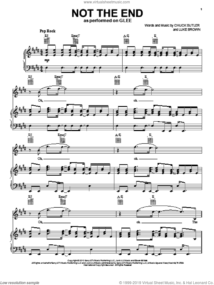 Not The End sheet music for voice, piano or guitar by Luke Brown