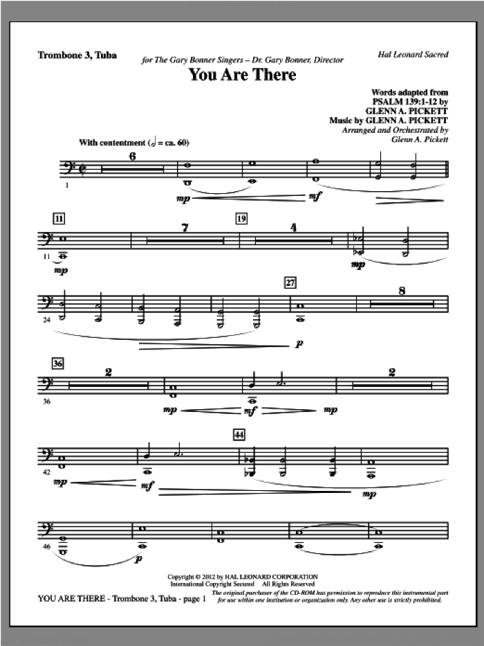 You Are There sheet music for orchestra/band (trombone 3/tuba) by Glenn Pickett
