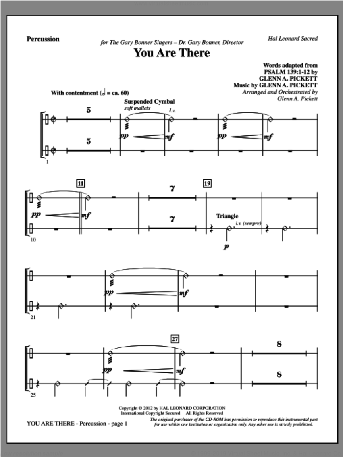 You Are There sheet music for orchestra/band (percussion) by Glenn Pickett