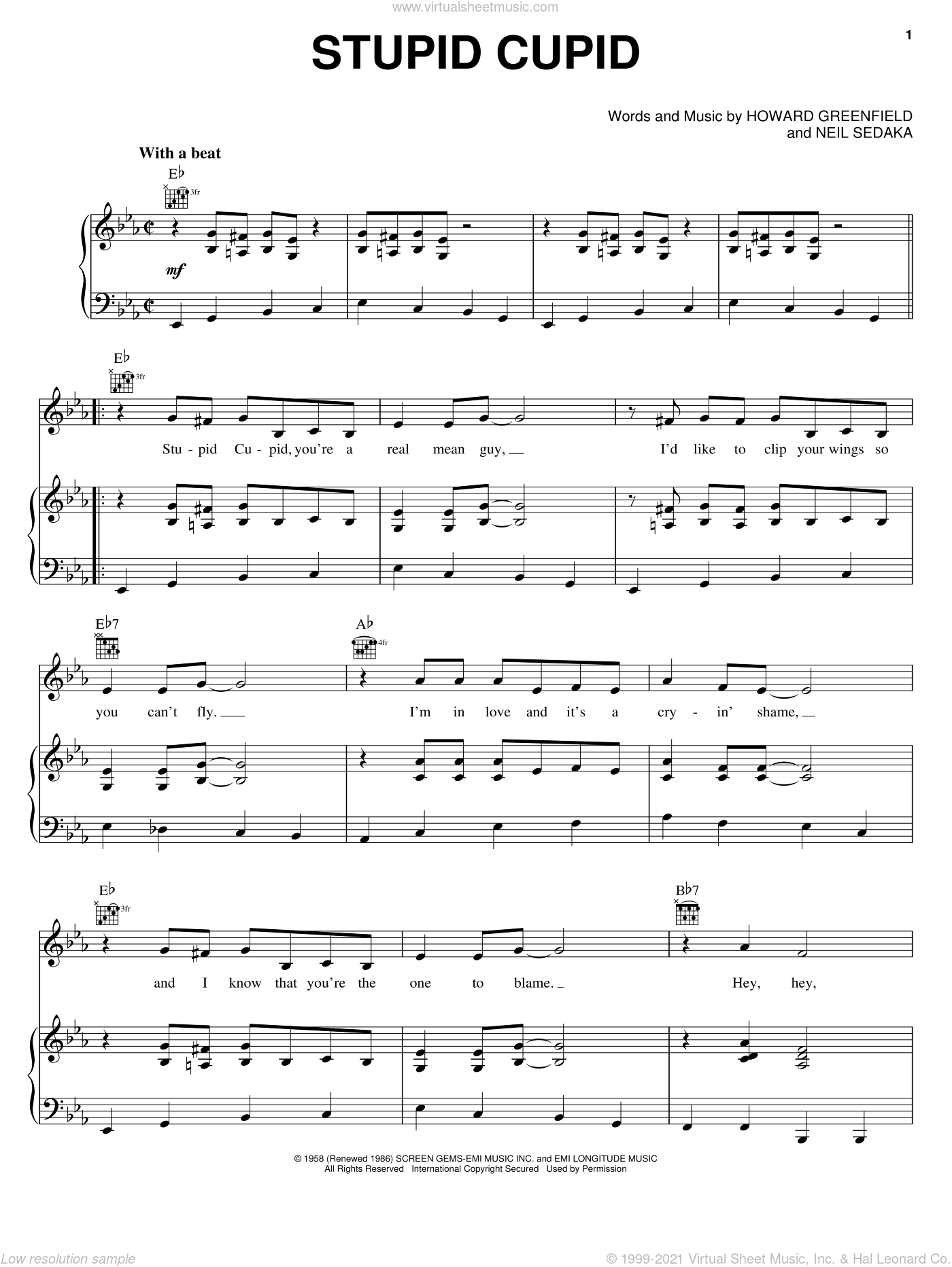 Stupid Cupid sheet music for voice, piano or guitar by Connie Francis, Howard Greenfield and Neil Sedaka, intermediate skill level