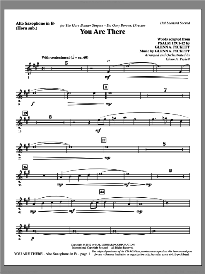 You Are There sheet music for orchestra/band (alto sax, sub. horn) by Glenn Pickett
