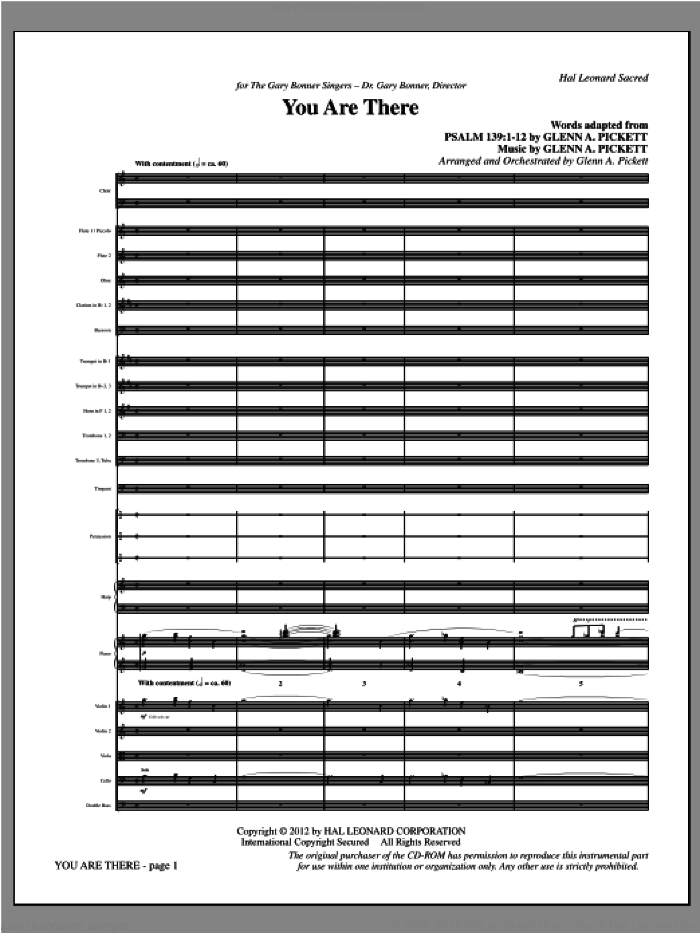 You Are There (complete set of parts) sheet music for orchestra/band (Orchestra) by Glenn Pickett, intermediate. Score Image Preview.