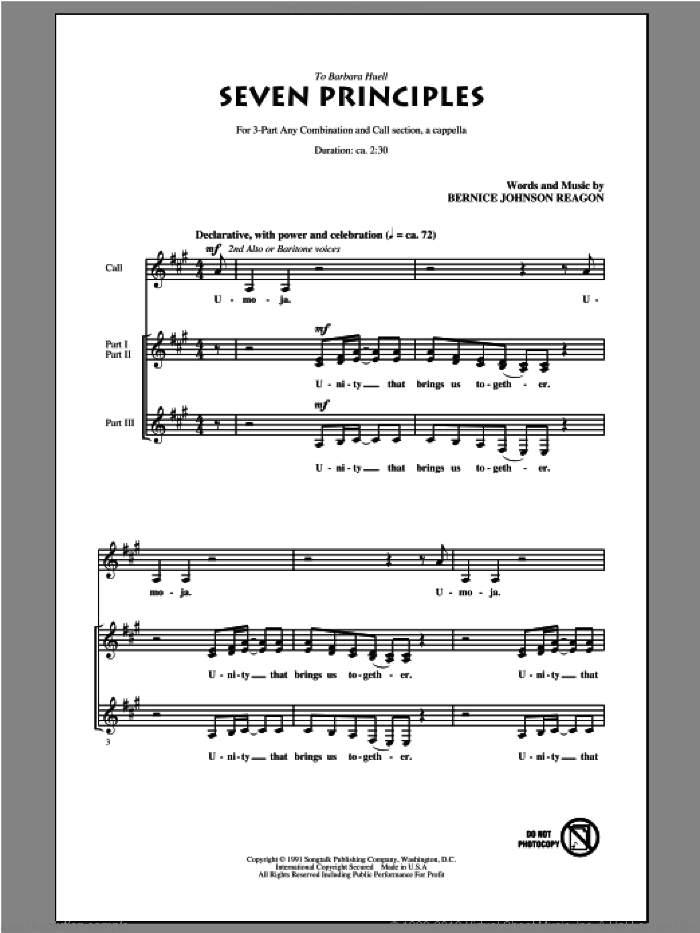 Seven Principles sheet music for choir by Bernice Johnson Reagon. Score Image Preview.