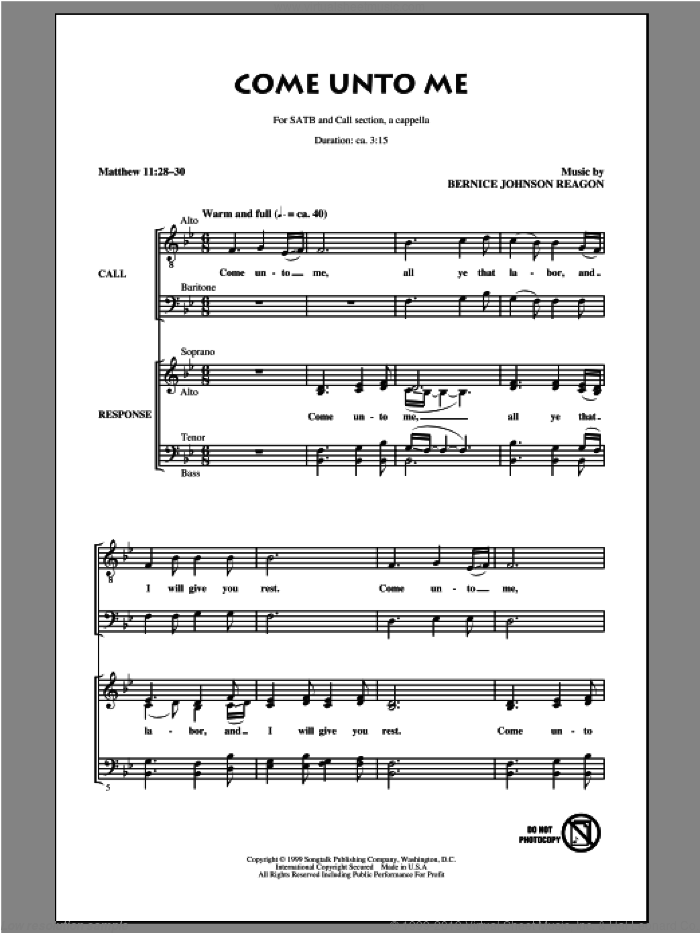 Come Unto Me sheet music for choir by Bernice Johnson Reagon. Score Image Preview.