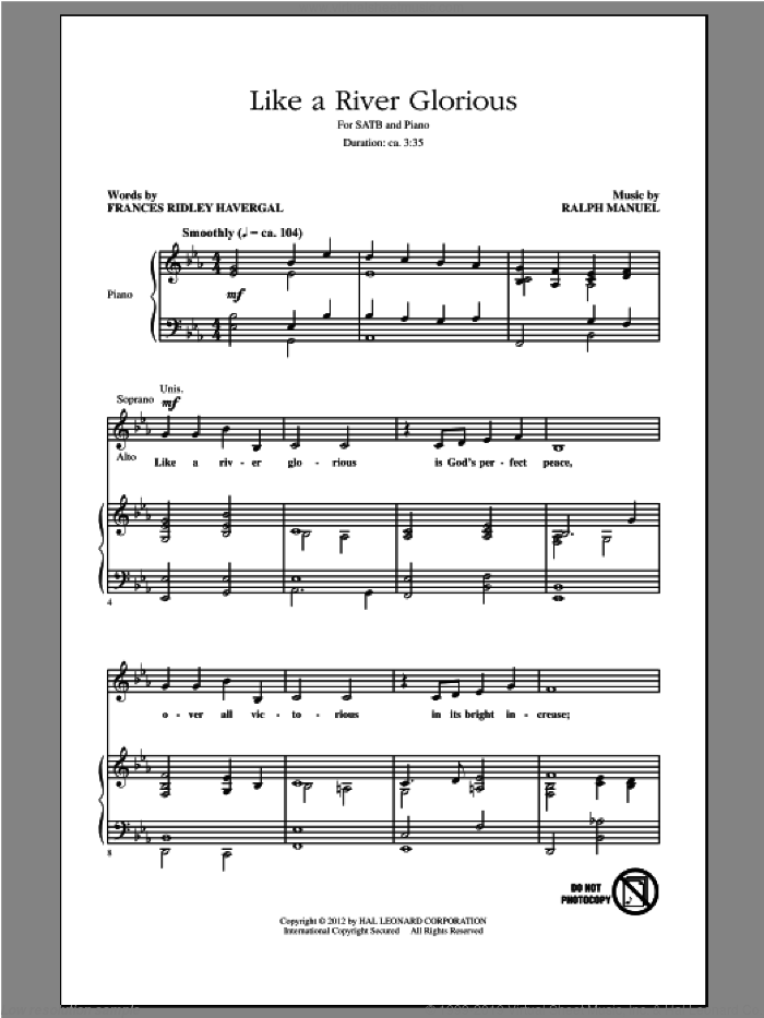 Like A River Glorious sheet music for choir (SATB: soprano, alto, tenor, bass) by Ralph Manuel and Frances Havergal, intermediate skill level
