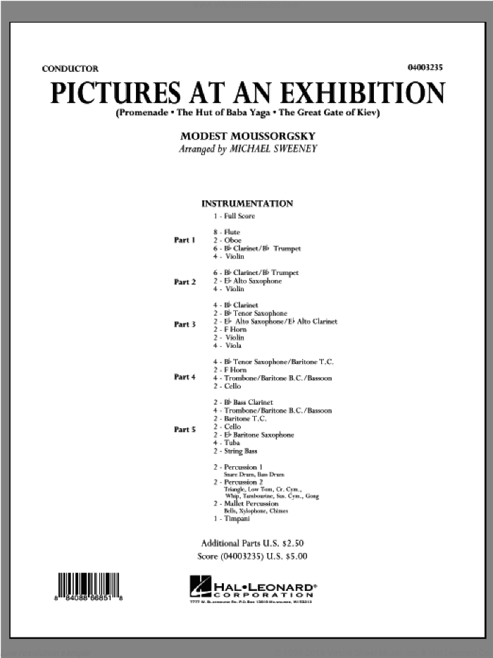 Pictures At An Exhibition (Excerpts) sheet music for concert band (full score) by Modest Petrovic Mussorgsky