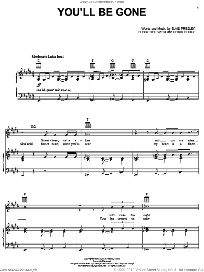 You'll Be Gone sheet music for voice, piano or guitar by Elvis Presley, Bobby Red West and Chris Hodge, intermediate skill level