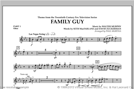 Family Guy (Theme) (COMPLETE) sheet music for concert band by David Zuckerman