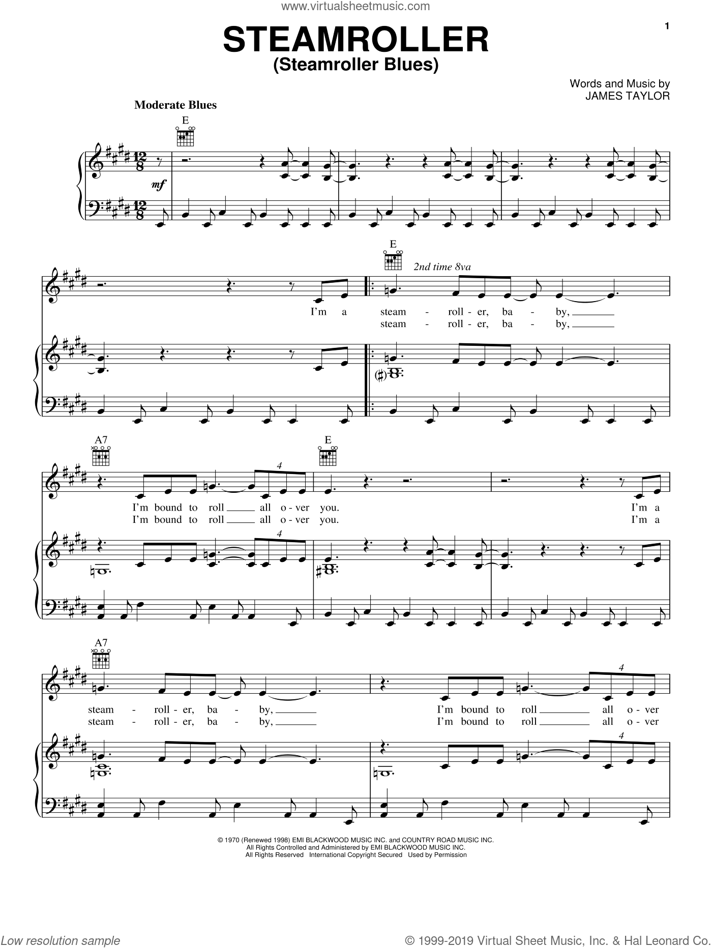 Steamroller (Steamroller Blues) sheet music for voice, piano or guitar by Elvis Presley, Billy Dean and James Taylor, intermediate. Score Image Preview.