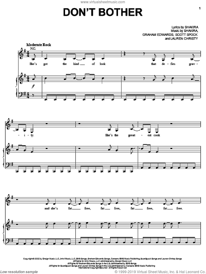 Don't Bother sheet music for voice, piano or guitar by Scott Spock, Graham Edwards, Lauren Christy and Shakira. Score Image Preview.