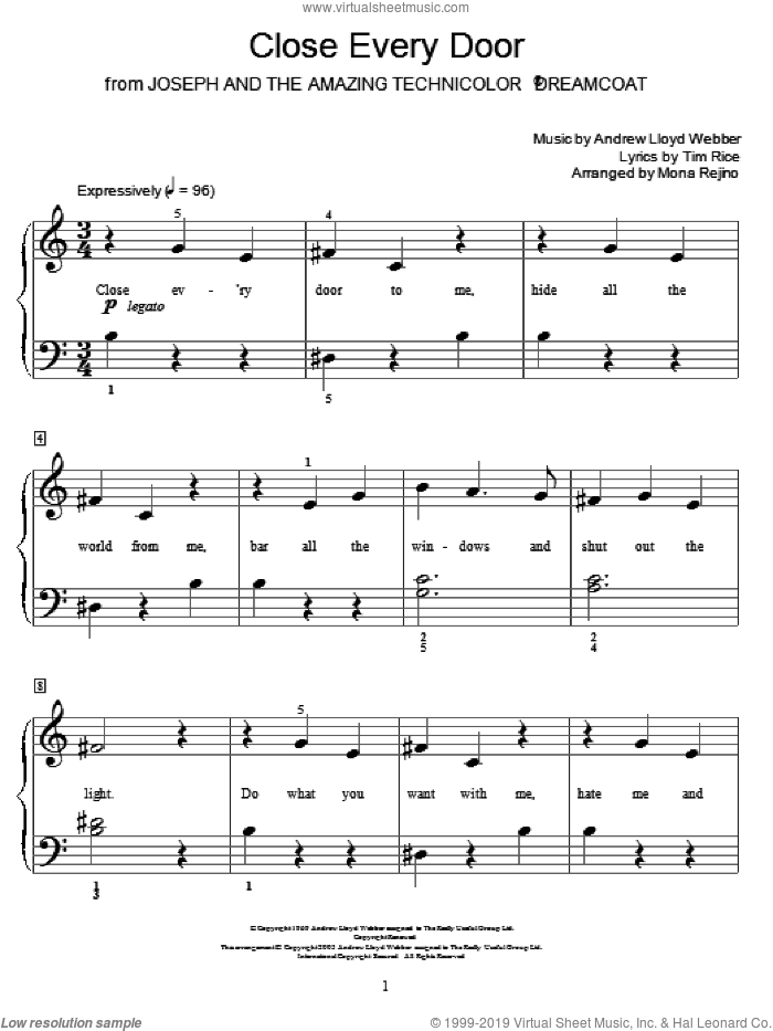 Close Every Door sheet music for piano solo (elementary) by Tim Rice