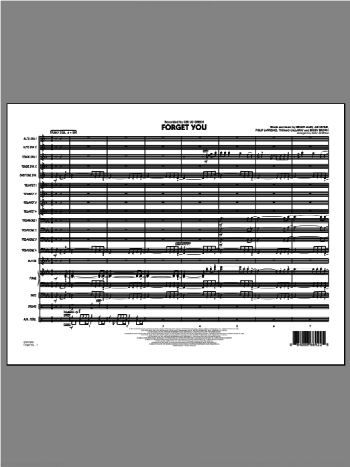 Forget You (COMPLETE) sheet music for jazz band by Bruno Mars, Cee Lo Green and Paul Murtha, intermediate skill level