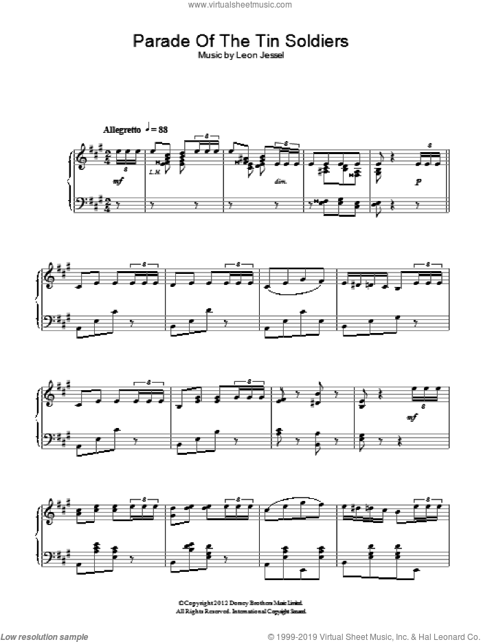 Parade Of The Tin Soldiers sheet music for piano solo by Leon Jessel. Score Image Preview.