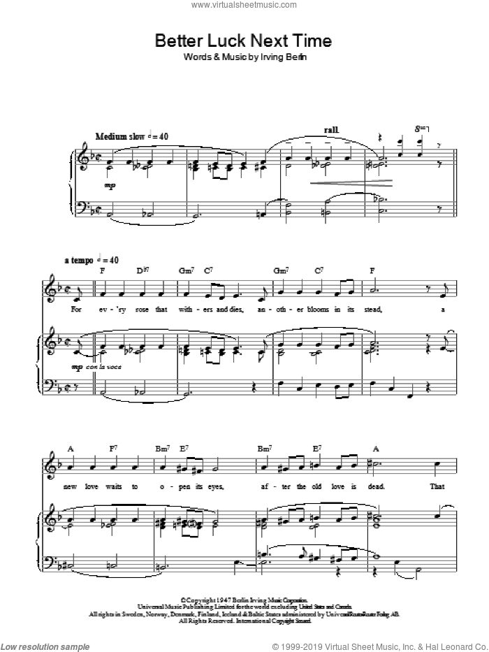 Better Luck Next Time sheet music for voice, piano or guitar by Top Hat Cast and Irving Berlin, intermediate skill level