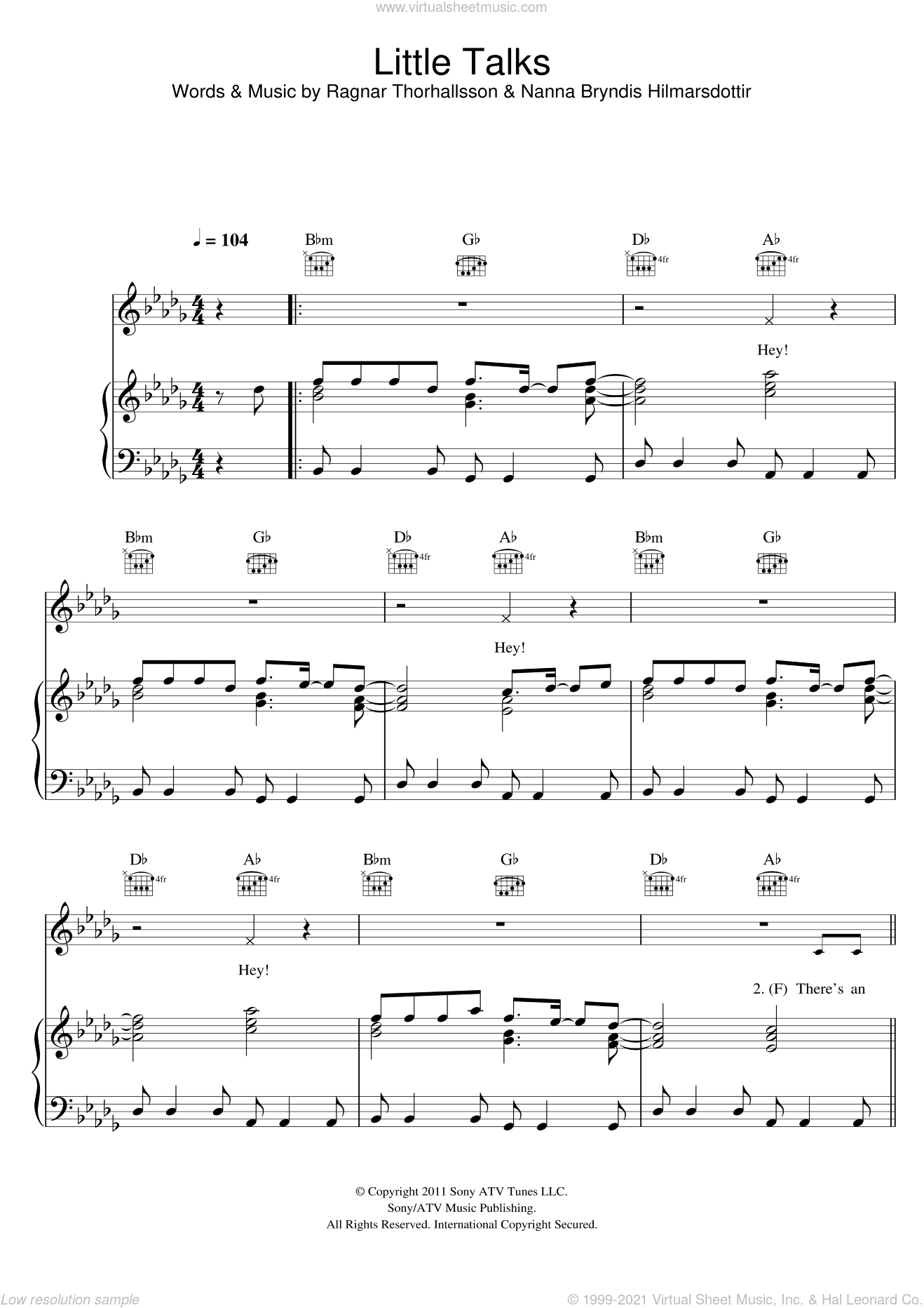 Little Talks sheet music for voice, piano or guitar by Ragnar Thorhallsson