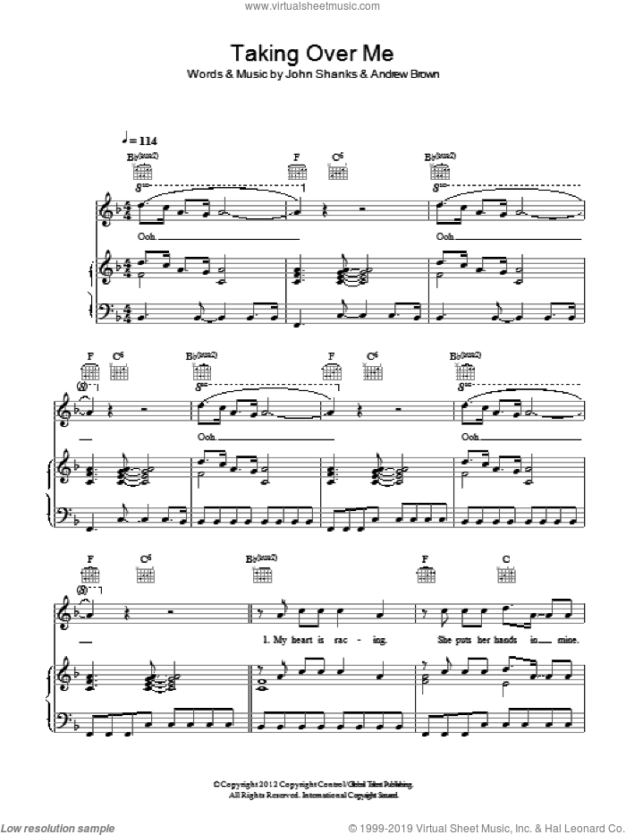 Taking Over Me sheet music for voice, piano or guitar by John Shanks and Andrew Brown. Score Image Preview.